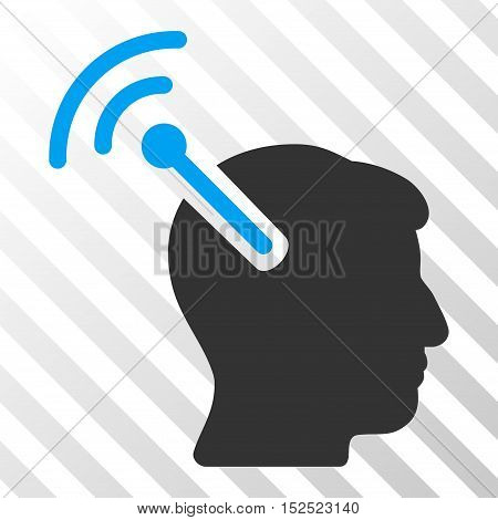 Blue And Gray Radio Neural Interface interface pictogram. Vector pictograph style is a flat bicolor symbol on diagonal hatch transparent background.