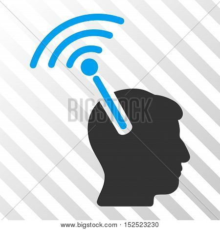 Blue And Gray Radio Neural Interface toolbar pictogram. Vector pictogram style is a flat bicolor symbol on diagonal hatch transparent background.