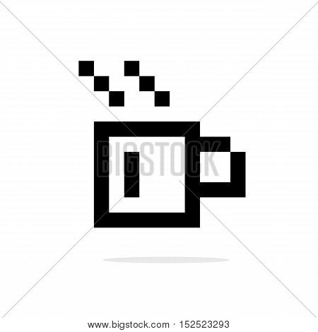 simple 8bit coffee cup black icon. concept of hot cocoa, coffeehouse, coffee shop, lunch break. isolated on white background. pixelart style trendy modern design vector illustration