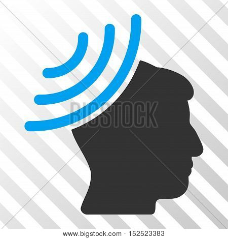 Blue And Gray Radio Reception Mind toolbar icon. Vector pictograph style is a flat bicolor symbol on diagonal hatch transparent background.
