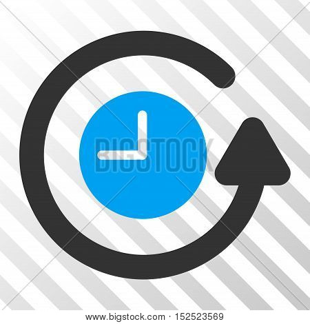 Blue And Gray Restore Clock interface icon. Vector pictograph style is a flat bicolor symbol on diagonal hatch transparent background.