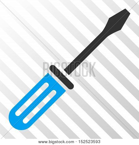Blue And Gray Screwdriver toolbar pictogram. Vector pictograph style is a flat bicolor symbol on diagonal hatch transparent background.