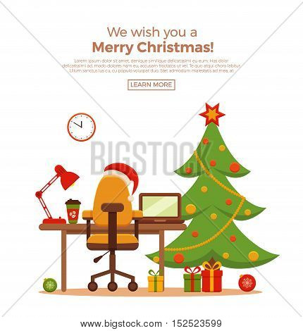 Christmas workplace interior vector flat style illustration. New Year office desk, laptop, Christmas tree, lamp, armchair, gifts, Santa Claus heat. Colorful concept for homework, freelance, party.