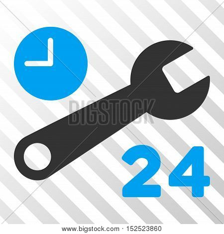 Blue And Gray Service Hours interface icon. Vector pictogram style is a flat bicolor symbol on diagonal hatch transparent background.