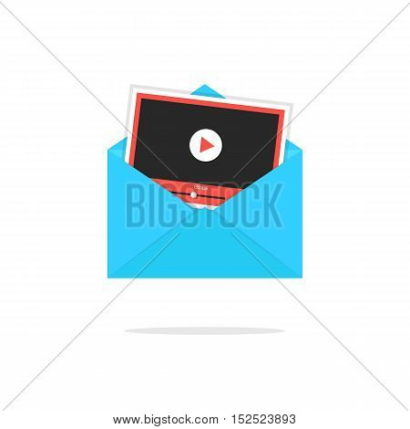 blue open envelope with video player card. concept of multimedia, information, management, e-mail spam, social promote. isolated on white background. flat style modern design vector illustration