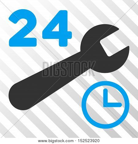 Blue And Gray Service Hours interface toolbar pictogram. Vector pictograph style is a flat bicolor symbol on diagonal hatch transparent background.