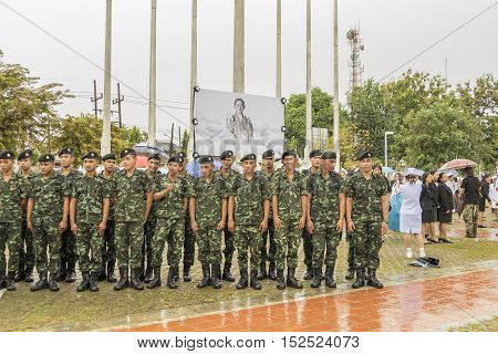 KRABI THAILAND - OCTOBER 19 2016: Thai mourners take picture after Mourning Ceremony of King Bhumibol Adulyadej at Krabi Provincial Hall on October 19 2016 in Krabi Thailand.