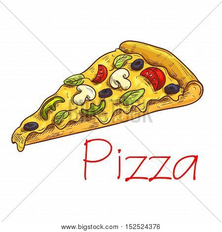 Pizza slice sketch of vegetarian italian pizza with mozzarella cheese, tomato, olive, basil and mushroom vegetables. Pizzeria and fast food cafe menu design