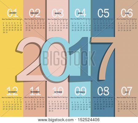 Vector illustration template of modern spring color 2017 calendar.