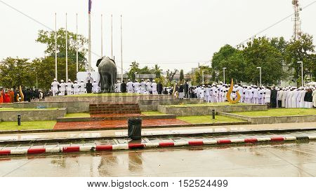KRABI THAILAND - OCTOBER 19 2016: Thai mourners Mourning Ceremony of King Bhumibol Adulyadej at Krabi Provincial Hall on October 19 2016 in Krabi Thailand.