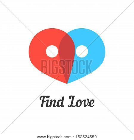 find love mark with transparent pins. concept of passion, destination, amour, metaphor, together, wedding, embrace. isolated on white background. flat style modern brand design vector illustration