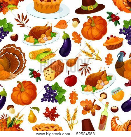 Thanksgiving pattern. Vector decoration of thanksgiving seamless pattern. Background with traditional cornucopia, horn of plenty, vegetables, pumpkin, turkey bird, berries, pilgrim hat, corn, apple