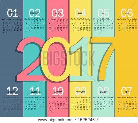 Vector illustration template of modern color 2017 calendar.