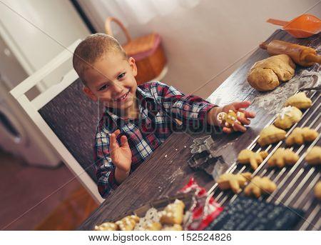 Little boy having fun in preparing Christmas cookies