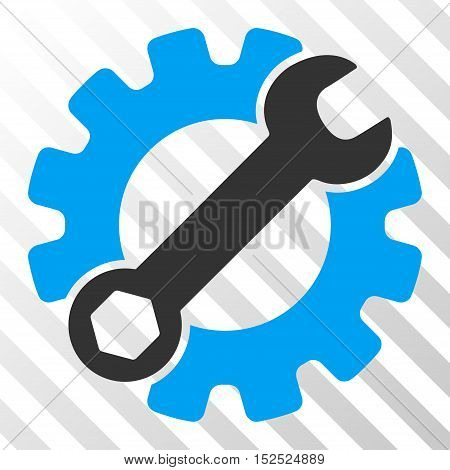 Blue And Gray Service Tools interface toolbar icon. Vector pictograph style is a flat bicolor symbol on diagonal hatch transparent background.
