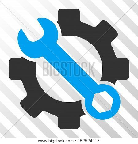 Blue And Gray Service Tools interface icon. Vector pictogram style is a flat bicolor symbol on diagonal hatch transparent background.
