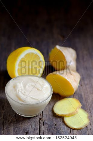 Treatment with coconut butter ginger root and lemon