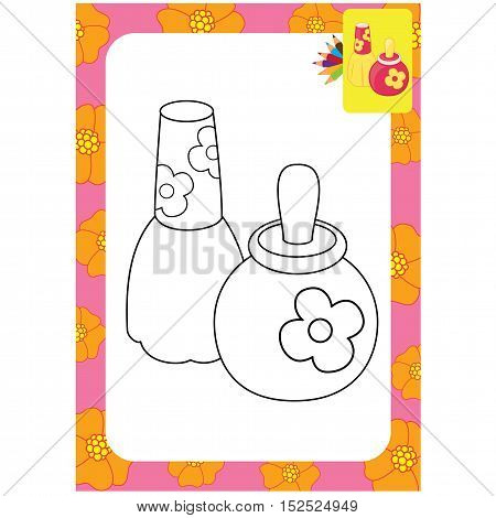 Outlined toy perfume bottles. Vector illustration for coloring