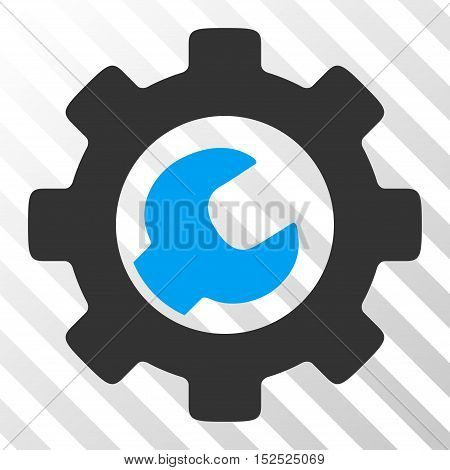 Blue And Gray Service Tools interface pictogram. Vector pictograph style is a flat bicolor symbol on diagonal hatch transparent background.