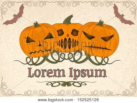 three evil pumpkin with a grin on the old parchment. template. vector illustration on the theme of Halloween