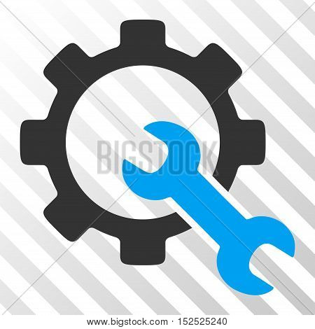 Blue And Gray Service Tools toolbar pictogram. Vector pictogram style is a flat bicolor symbol on diagonal hatch transparent background.