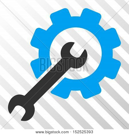 Blue And Gray Setup Tools interface toolbar pictogram. Vector pictogram style is a flat bicolor symbol on diagonal hatch transparent background.