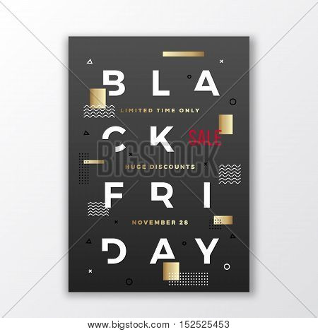 Black Friday Swiss Style Typography Poster or Flayer. Modern Concept. Gold and White Abstract Elements with Soft Realistic Shadow. Isolated.