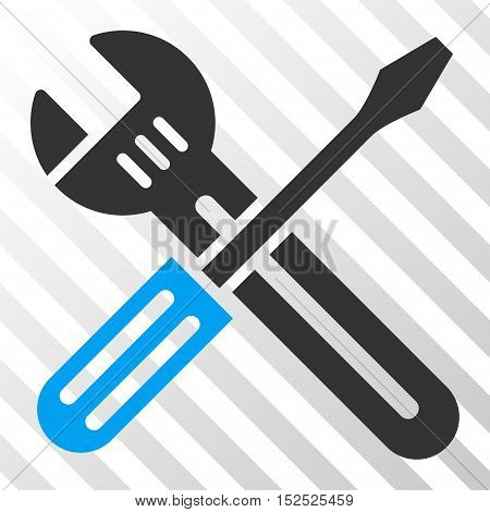 Blue And Gray Spanner and Screwdriver toolbar pictogram. Vector pictograph style is a flat bicolor symbol on diagonal hatch transparent background.
