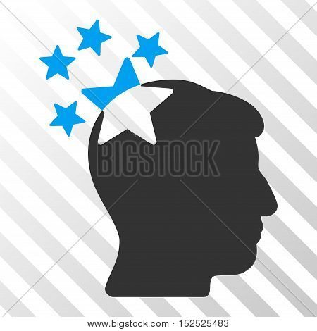 Blue And Gray Stars Hit Head toolbar pictogram. Vector pictograph style is a flat bicolor symbol on diagonal hatch transparent background.