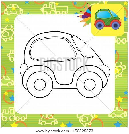 Cartoon toy car. Vector illustration for coloring