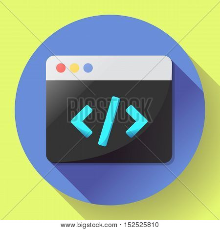 Coding icon vector flat program code icon app.