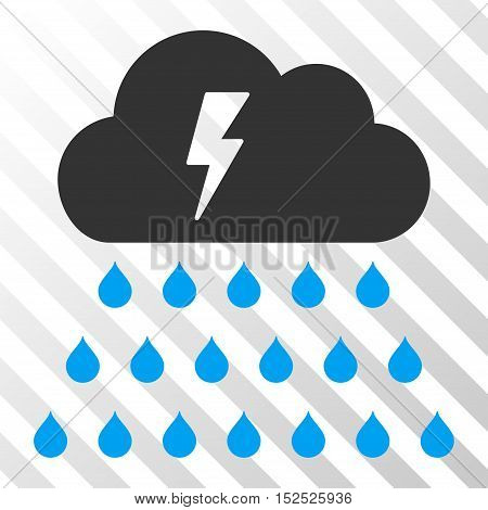 Blue And Gray Thunderstorm Rain Cloud toolbar icon. Vector pictogram style is a flat bicolor symbol on diagonal hatch transparent background.