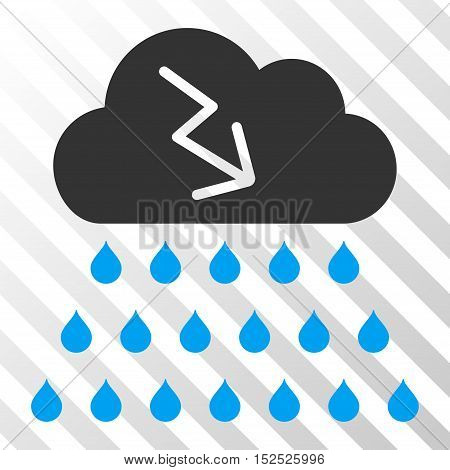 Blue And Gray Thunderstorm Rain Cloud interface pictogram. Vector pictograph style is a flat bicolor symbol on diagonal hatch transparent background.