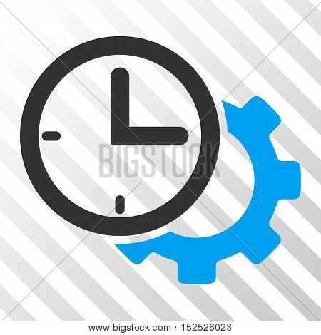 Blue And Gray Time Setup Gear toolbar pictogram. Vector pictogram style is a flat bicolor symbol on diagonal hatch transparent background.