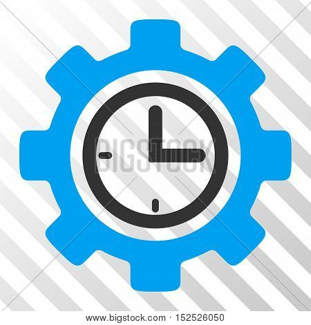 Blue And Gray Time Setup Gear interface toolbar pictogram. Vector pictogram style is a flat bicolor symbol on diagonal hatch transparent background.