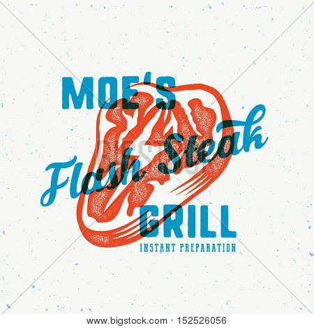 The Flash Instant Steak Abstract Vintage Vector Emblem, Label or Logo Template. Meat with a Lightning Concept Illustration, Retro Print Effect, Typography and Shabby Texture. Isolated.