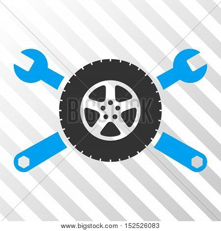 Blue And Gray Tire Service Wrenches interface toolbar pictogram. Vector pictogram style is a flat bicolor symbol on diagonal hatch transparent background.