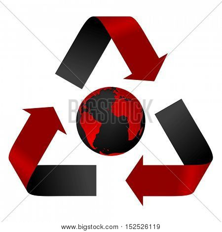 Abstract pollution threat, red and black recycle logo and globe. Vector background