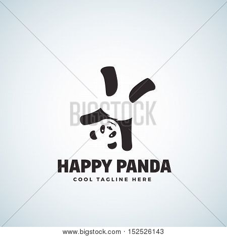 Happy Panda Abstract Vector Emblem or Logo Template. Funny Bear Upside Down. Isolated.