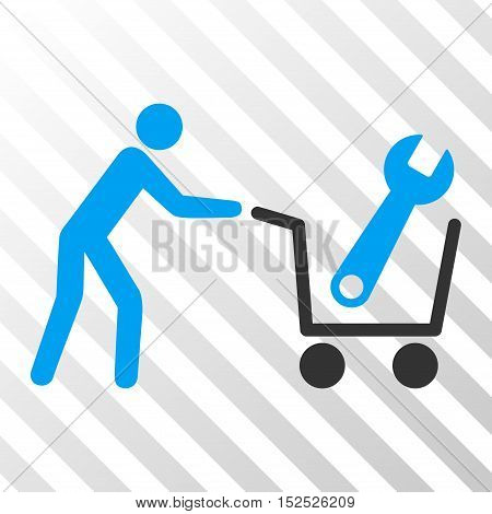 Blue And Gray Tools Shopping interface icon. Vector pictograph style is a flat bicolor symbol on diagonal hatch transparent background.