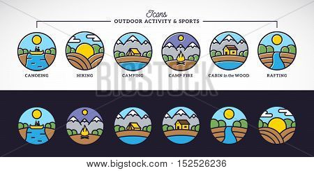 Outdoor Activity and Sports Line Style Vector Icons Set with Typography. Isolated.
