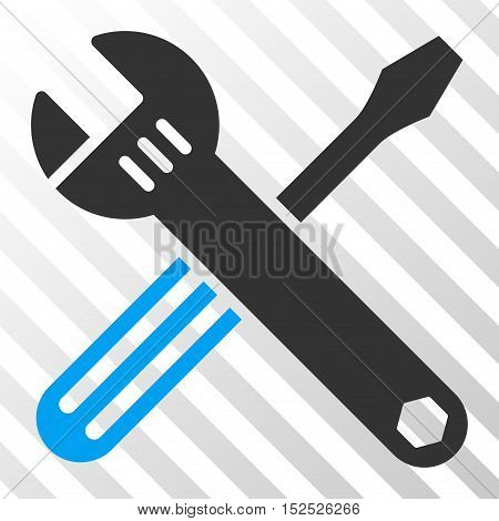 Blue And Gray Tools interface toolbar pictogram. Vector pictograph style is a flat bicolor symbol on diagonal hatch transparent background.