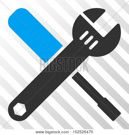 Blue And Gray Tools interface toolbar pictogram. Vector pictogram style is a flat bicolor symbol on diagonal hatch transparent background.