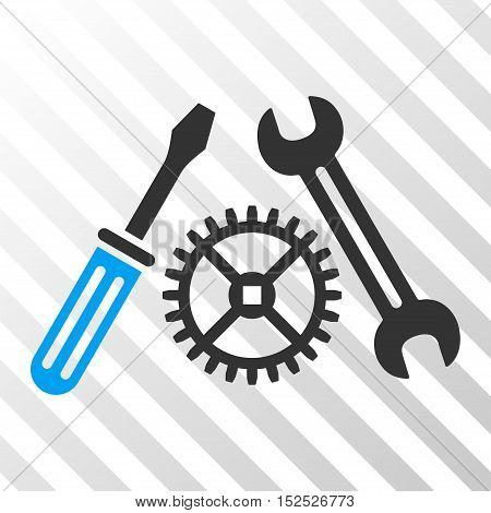 Blue And Gray Tuning Service interface toolbar icon. Vector pictogram style is a flat bicolor symbol on diagonal hatch transparent background.