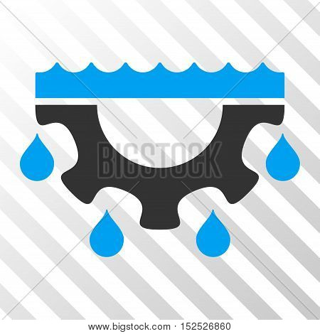 Blue And Gray Water Gear Drops toolbar icon. Vector pictograph style is a flat bicolor symbol on diagonal hatch transparent background.
