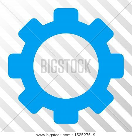 Blue Gear interface toolbar pictogram. Vector pictograph style is a flat symbol on diagonal hatch transparent background.