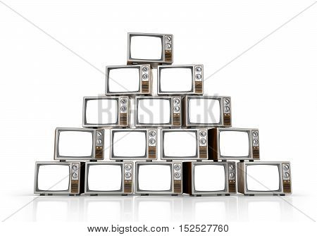Heap of vintage tv on white background. 3d illustration