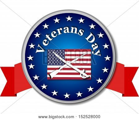 Veteran day round banner with american flag and sword, gun