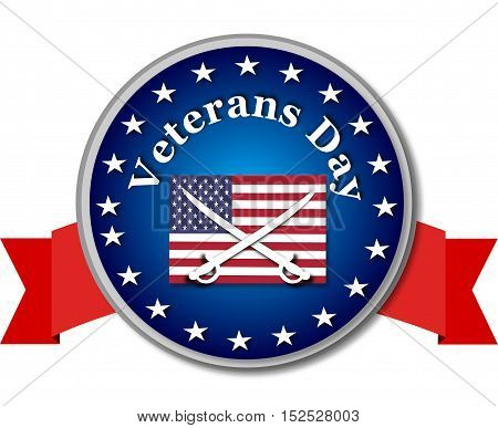 Veteran day round banner with american flag and swords