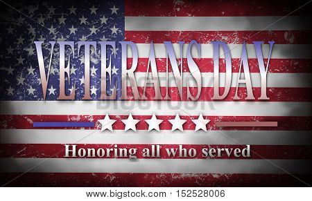 Veteran day background  with american flag and text